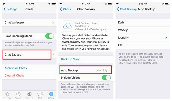 backup whatsapp icloud