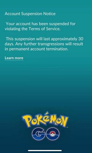 pokemon go account warning