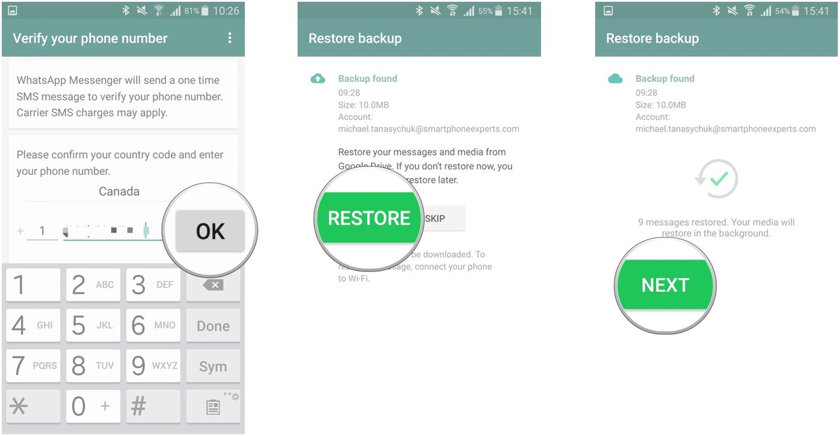 restore backup from google drive android