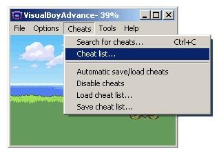 visual boy cheat list