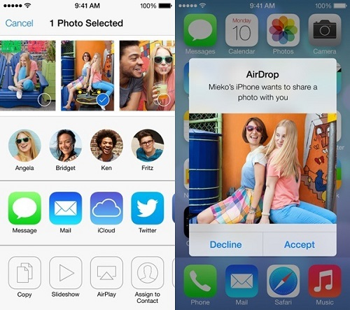 airdrop photos on iphone