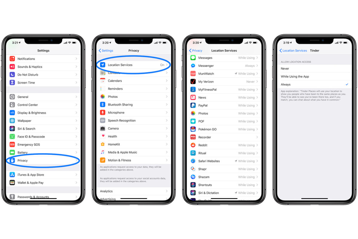 how to disable location tracking for specific apps on iPhone