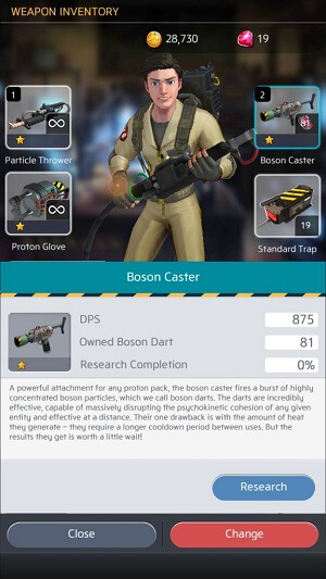 Upgrade your weapons in Ghostbusters World mobile game