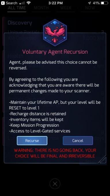 A screenshot of the recursion process in Ingress Prime