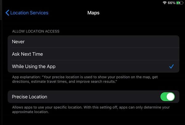 ios 14 maps precise location