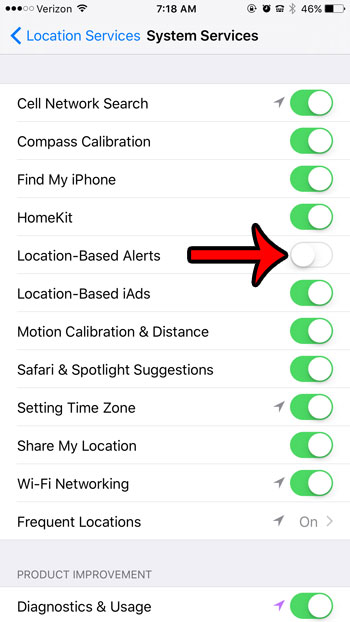 "Toggle Location-Based Alerts to the ""Off"" position"