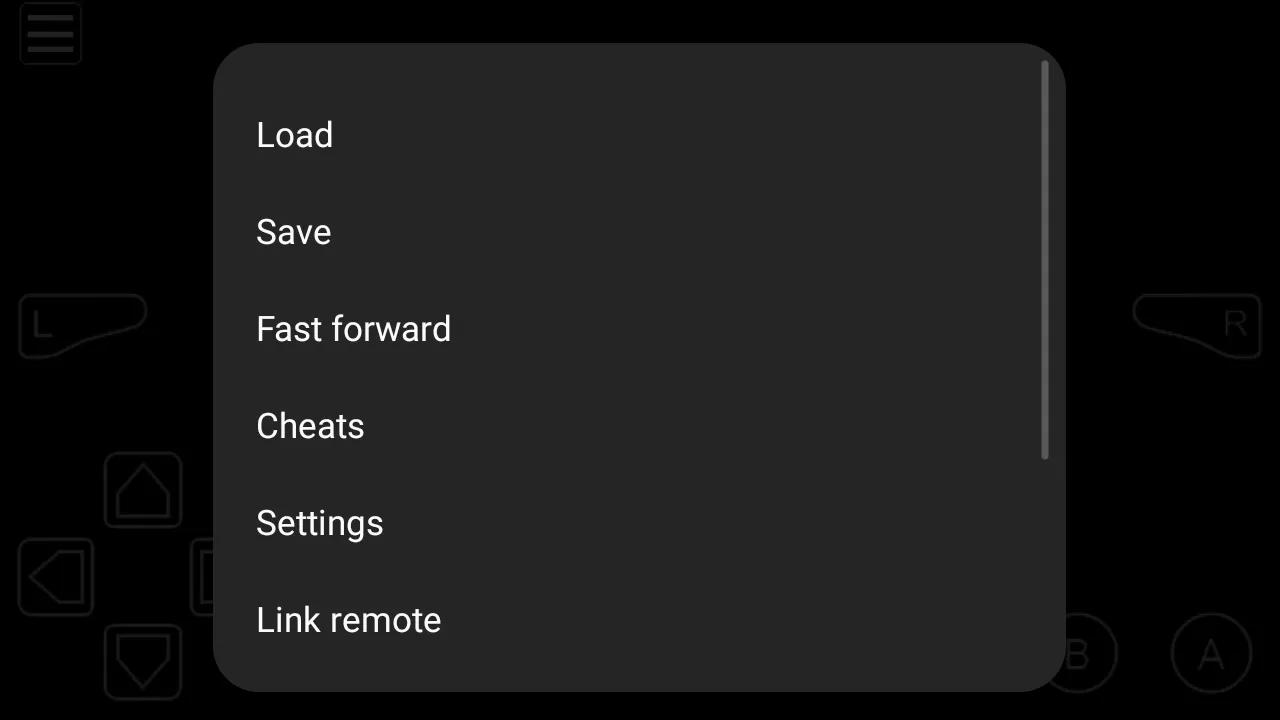 Select cheats on My Boy app menu
