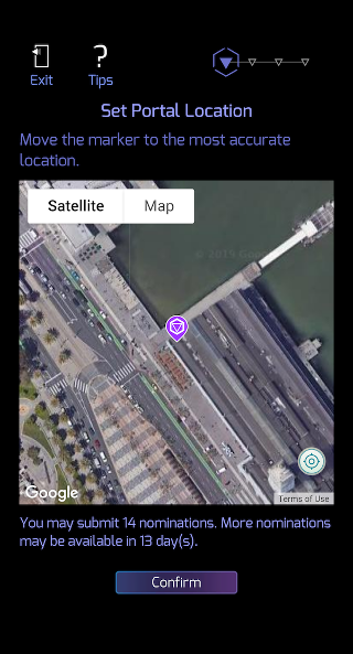 Drag map to set location for suggested Ingress Portal