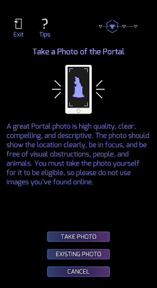 Take a photo of the suggested Ingress Portal