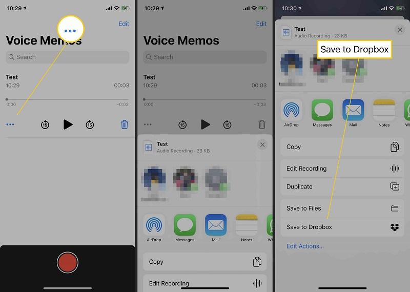 voice memos share to dropbox