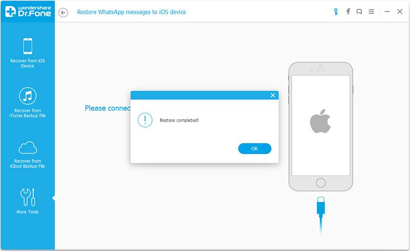 استكمال استرداد رسائل واتس آب لهواتف آي فون