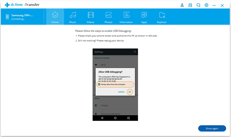 Allow USB debugging on your Android device