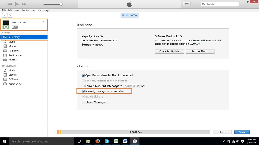 Transfer Music from iPod to iPad with Manual Way - step 5