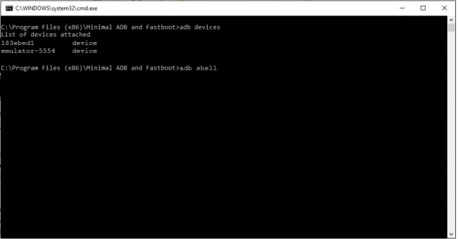 Minimal adb and fastboot adb shell command