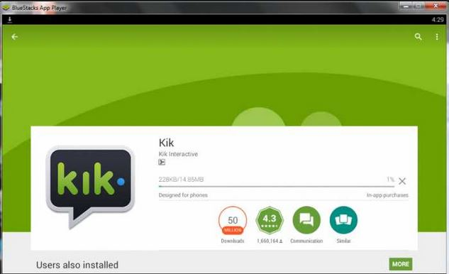 step 1 to login Kik online by Bluestacks