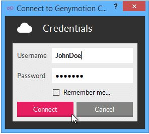step 2 to login Kik online by Genymotion