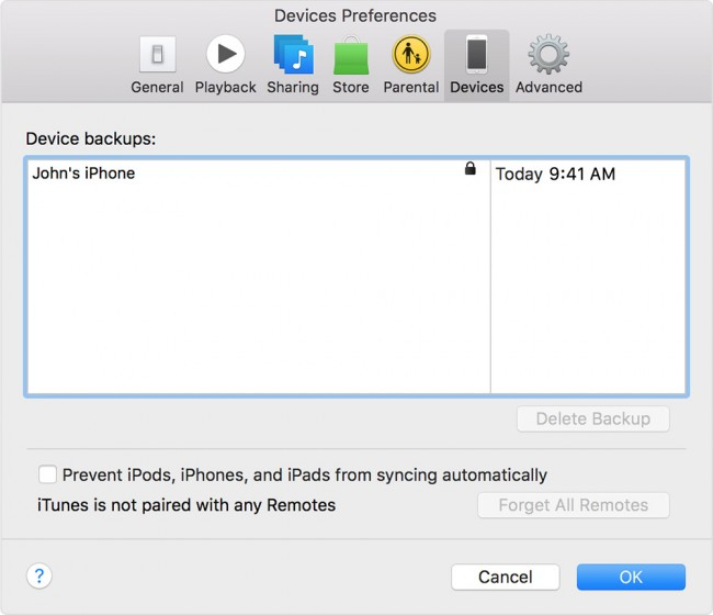 start to backup iPhone with iTunes