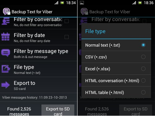 how to backup text for Viber