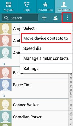 backup samsung contacts with gmail account