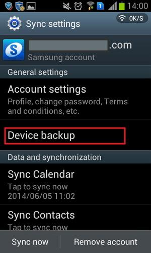 samsung device backup option