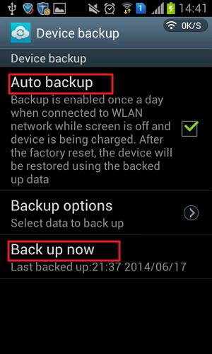 perform samsung account backup