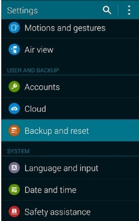 restore from google backup-Tap on Backup and Reset