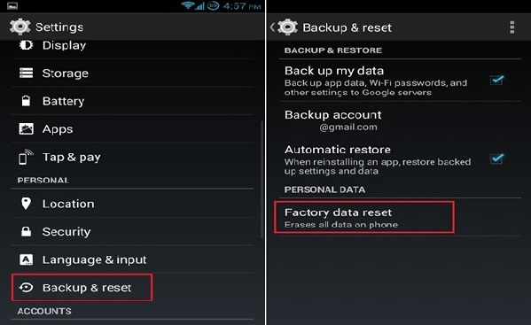 restore android to previous state-Tap on Factory Data Reset
