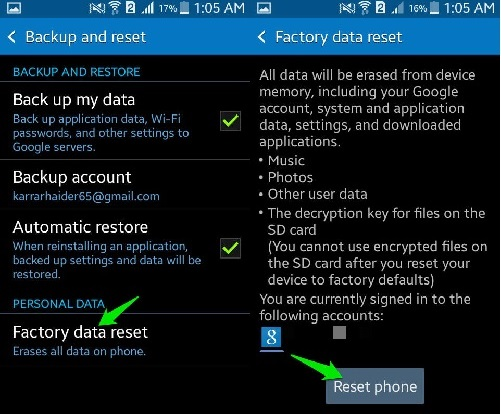 restore android to previous state-Click on Reset Device