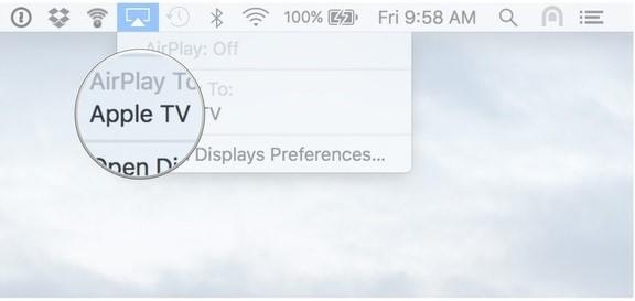 عرض شاشة ماك على  apple tv