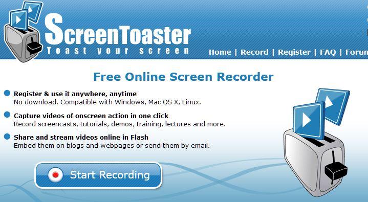 Grabador de Pantalla en Línea - ScreenToaster