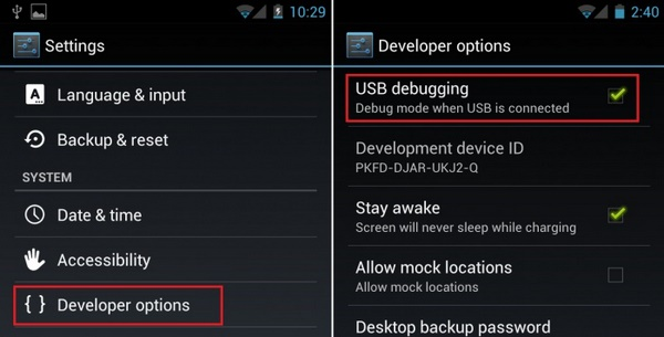enable usb debugging mode on moto g