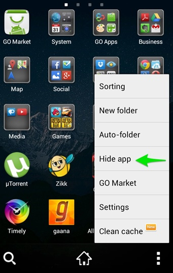 hide apps with go launcher