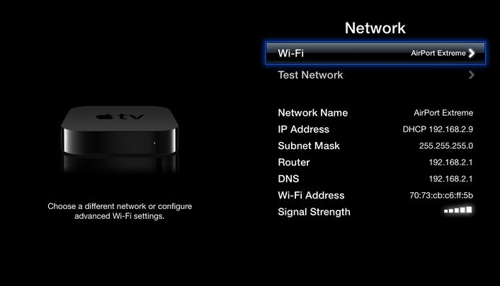 Switch ON Wi-Fi Apple TV