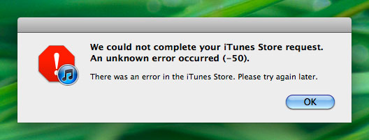 Error 50 Itunes Fix