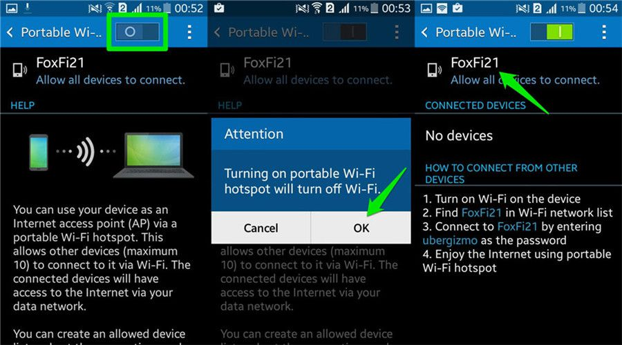 how to use wifi tether