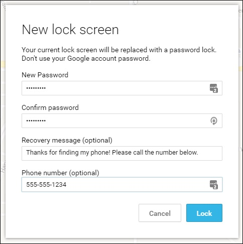 android device manager lock htc phone