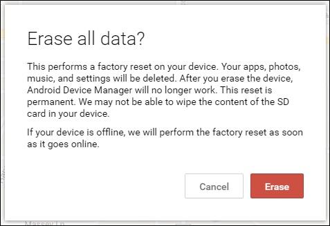 Gerenciador de Dispositivos Android, função: apagar dados do telefone HTC perdido