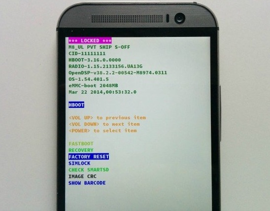 hard reset htc one from recovery mode