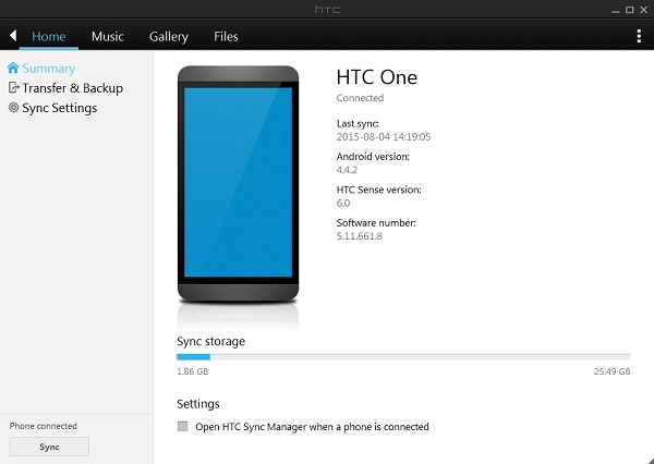 how to use htc symc manager
