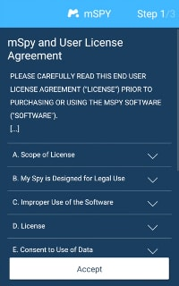 how to install mspy on android and iphone-License Agreement