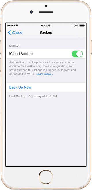 backup iPhone through iCloud