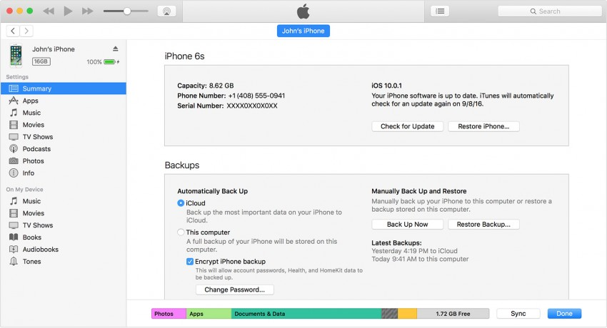 How to backup iPhone via iTunes