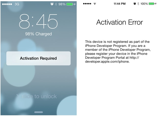 iPhone activation error after iOS 10 update