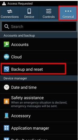 backup and reset