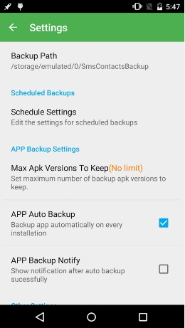 super backup settings