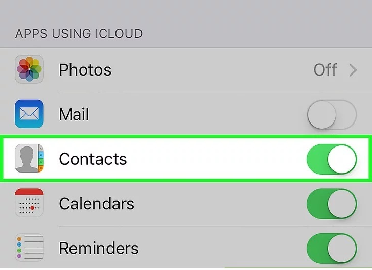 turn off contacts