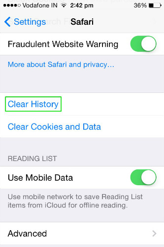 How to clear cookies cache search history on iphone clear history confirm clear history ccuart Choice Image