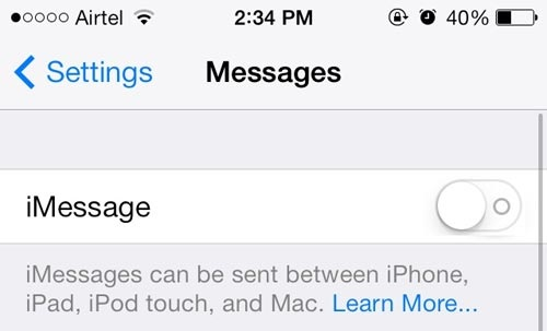 turn off imessages