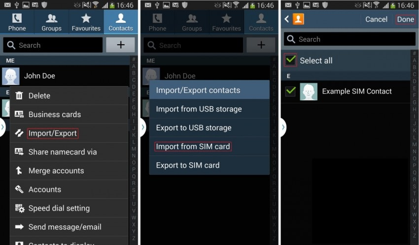 import from sim card