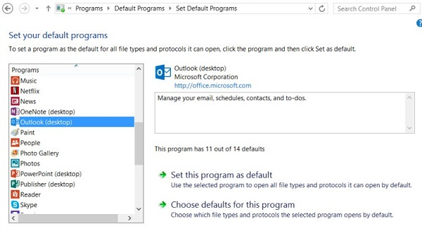setup outlook as default
